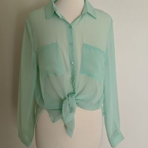 Sheer button up blouse in mint